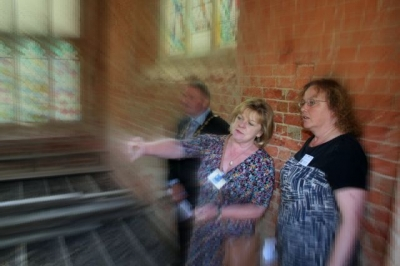 Sally Greenwood [chairman] and Paula Friend [director] inspecting conservation work in the crypt of the RSH Hospital Chapel at the 2013 AGM [image Ann MacGillivray]