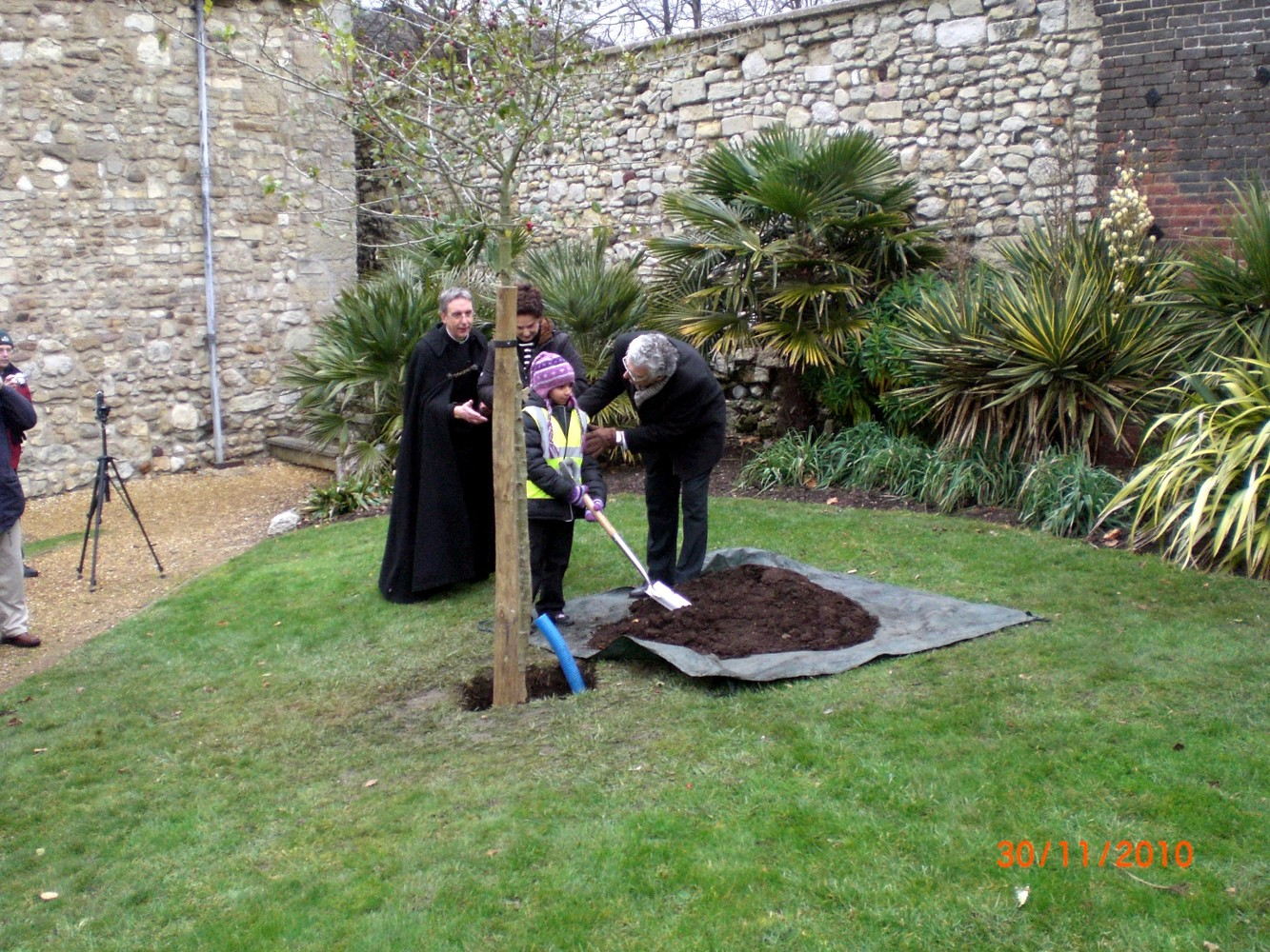 planting the commemorative tree Nov 2010
