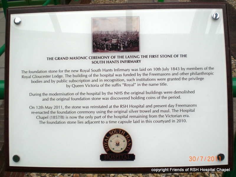 "A commemorative plaque at the RSH Hospital reflecting the support of local freemasons in raising funds to build the hospital queen victoria recognised such philantrophy by permitting the hospital to use the prefix ""Royal""."