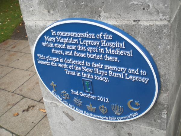 Commemorative Plaque for Leprosy Hospital Southampton Image Ann MacGillivray