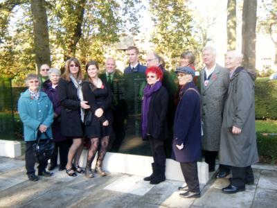 Southampton Cenotaph Nov 2014. The Fryatt family and supporters of Southampton Fryatt Plaque at the Remembrance Service. Image Den White.