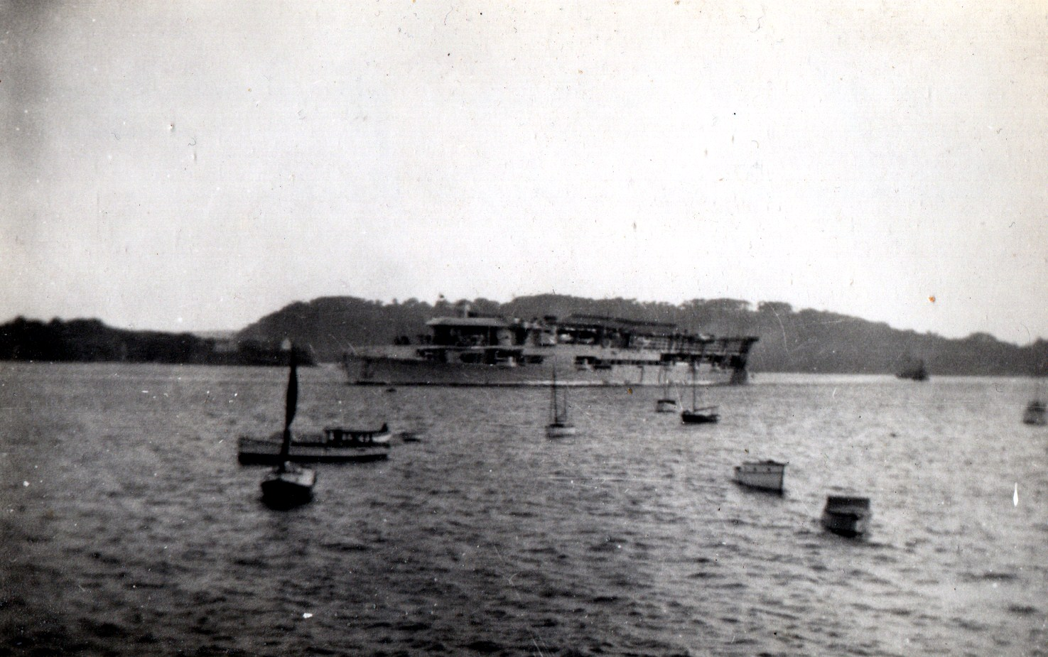 HMS Furious an early period aircraft carrier passing Drakes Island, Plymouth in 1934