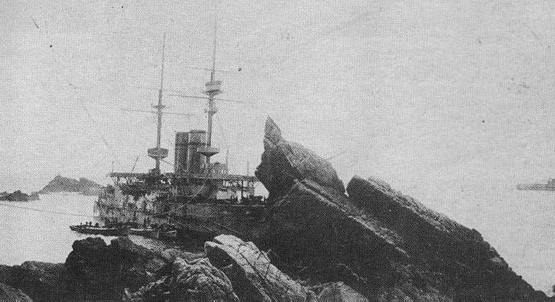 HMS Montagu ashore on Lundy Island