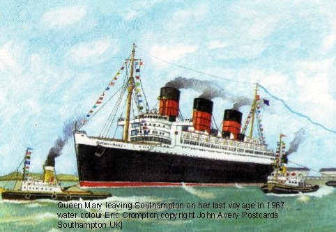 In 1967 the Queen Mary set off on her final voyage to Longbeach, California. This watercolour by Eric Crompton records the farewell.
