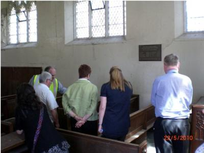 Visitors inspecting RSH Hospital Chapel image Ann MacGillivray