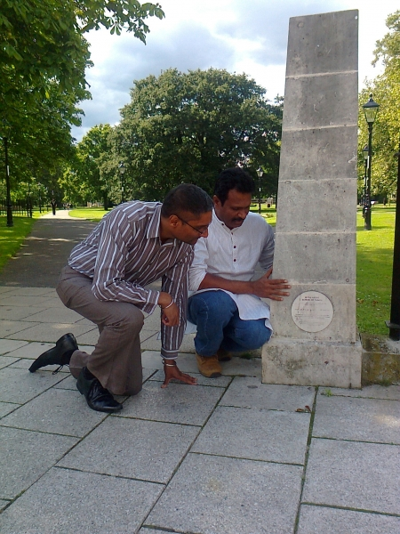 Preparing for the new commemoration plaque. Image Jill Ghanouni